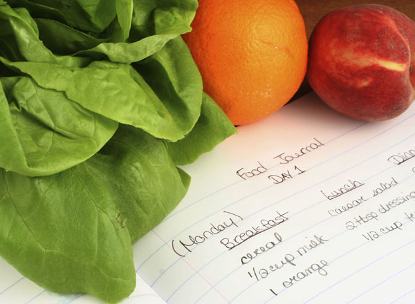 Image of fruits and vegetables with a food journal