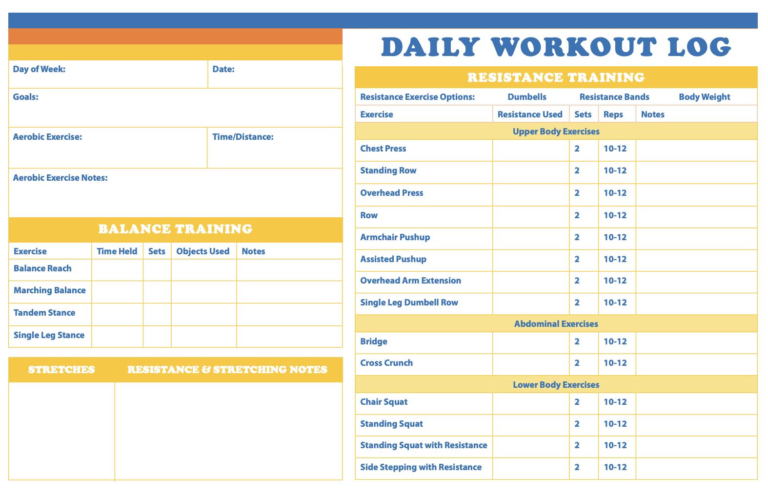 Image of workout log